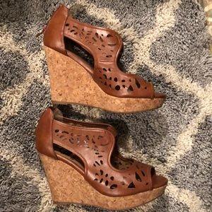 brown cork wedge sandals